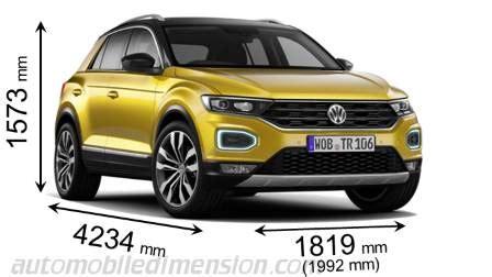 dimensioni volkswagen t roc 2018, bagagliaio e interni