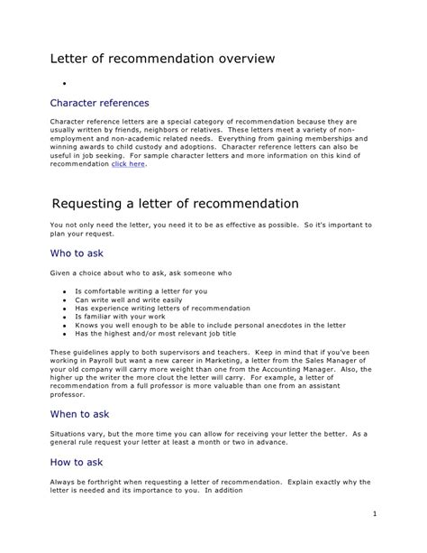 Character Reference Letter Weakness Letter Of Recommendation Overview