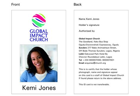 church id card template global impact church gic brand strategy new identity