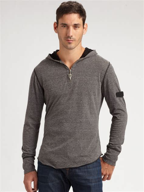 Rocking Fashion By Royal Underground by Royal Underground Zip Henley Shirt In Gray For Grey