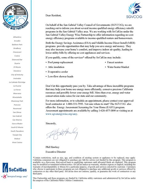 Letter For Outreach Program Income Qualified Energy Efficiency Retrofit Programs Letter To Residents City Of Alhambra