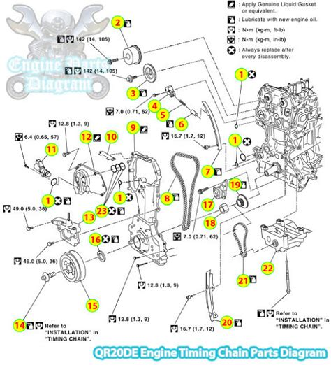 nissan x trail t30 timing chain parts diagram qr20de engine