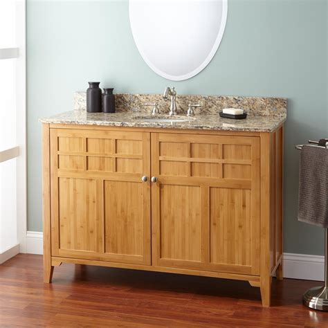 bridgemill corner bamboo vanity  undermount sink bathroom