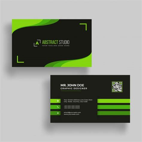 Business Cards Templates Front And Back Psd by Horizontal Green And Black Business Card With Front And