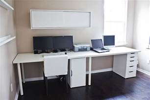 Laptop Desk Setup Clean White Computer Desk Setup From Ikea Linnmon Adils With Alex Storage Drawer Minimalist