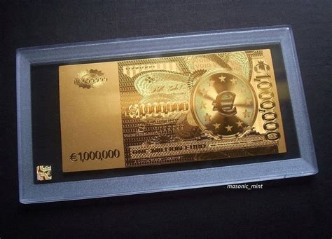 Gold Ank 1 new 1 million gold plated bank note display