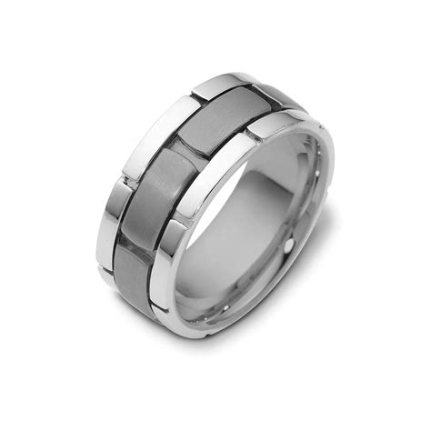 white gold wedding bands for him and titanium and white gold wedding band for him connected