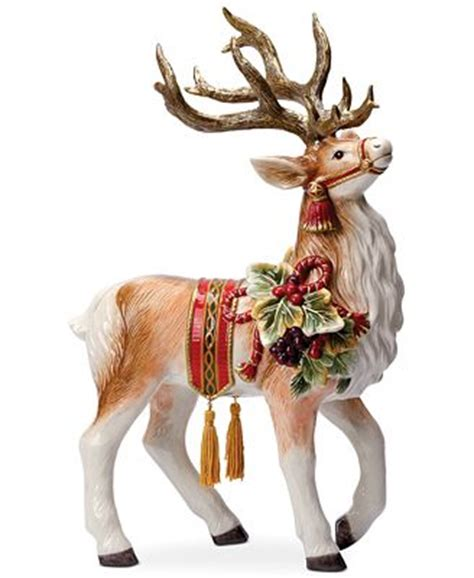 closeout! fitz and floyd regal holiday deer figurine