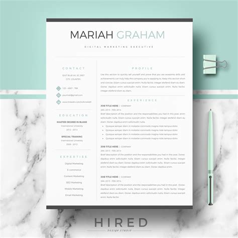modern professional resume templates resume templates hired design studio
