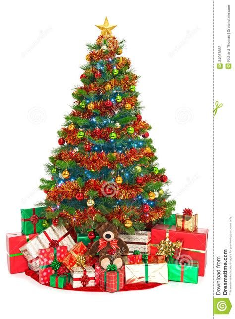 christmas tree and presents isolated on white stock photo