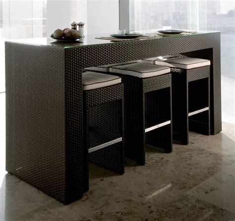 Set table haute 6 tabourets bar jardin aluminium et résine
