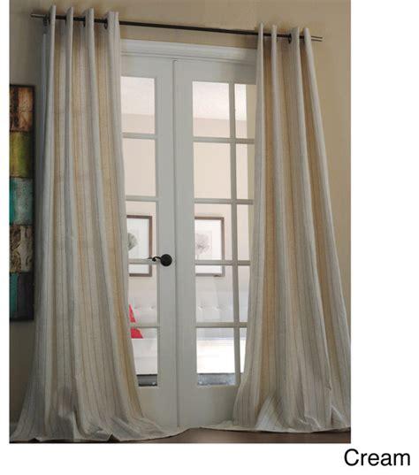 cream linen drapes sahara cream pinstripe linen blend 96 inch curtain panel