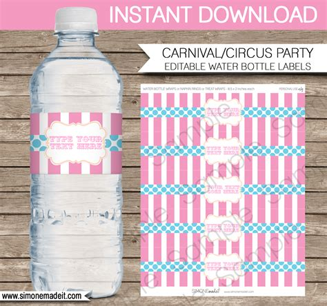 birthday water bottle labels template free editable carnival water bottle labels carnival or circus