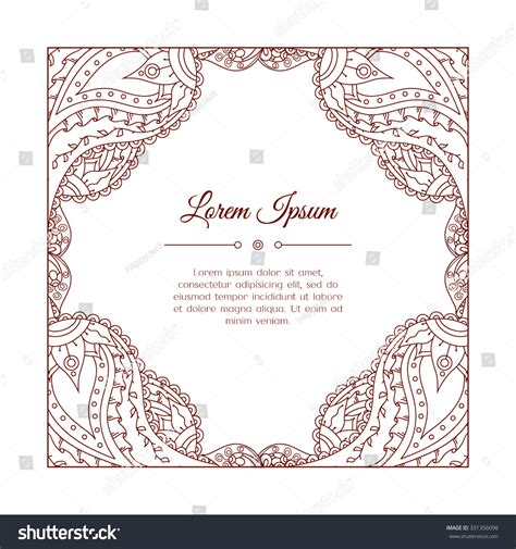 doodle calendar invite doodle paisley frame abstract stock vector