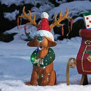 fiber optic reindog figure outdoor christmas