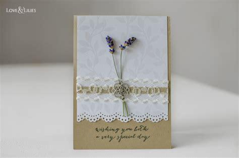 Hochzeitskarten Mit Spitze by Handmade Hochzeitskarte Mit Zartem Lavendel Und Spitze