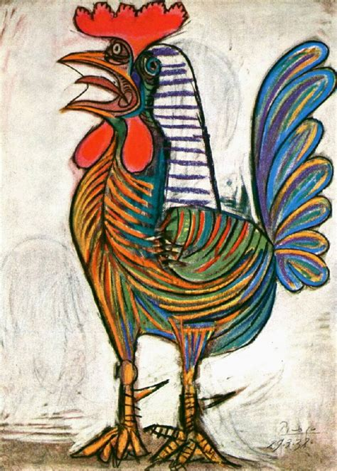 picasso paintings of animals draw paint print pablo picasso rooster 1938