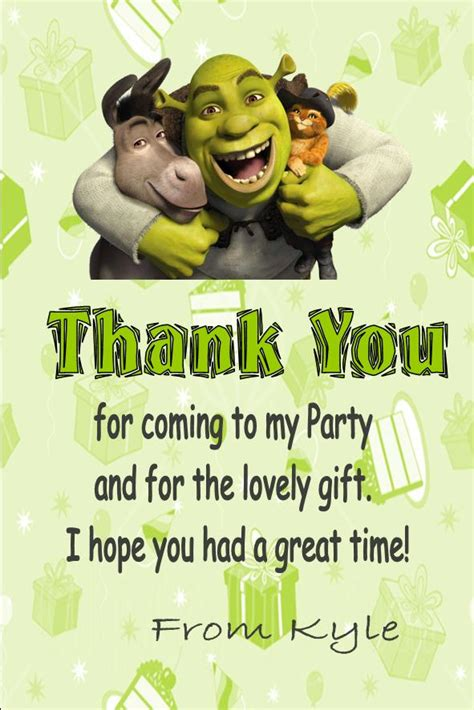 Shrek Birthday Card Personalised Shrek Thank You Cards