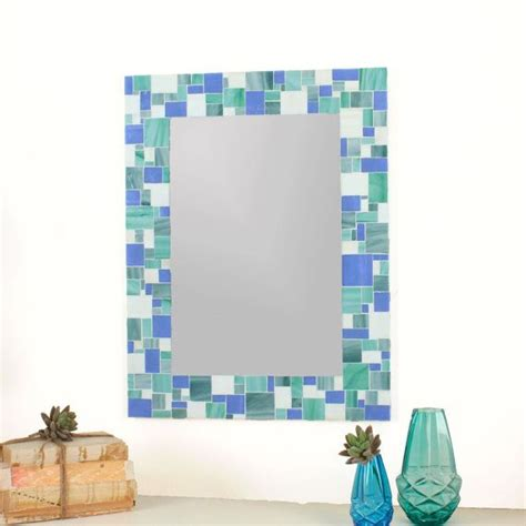 bathroom mosaic mirror decorative mosaic bathroom wall mirror in blues sea green