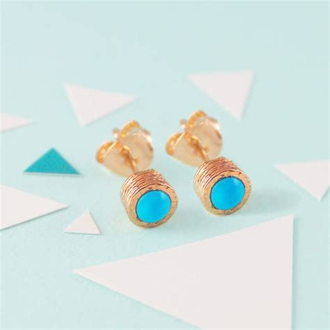 turquoise birthstone turquoise december birthstone rose gold stud earrings by