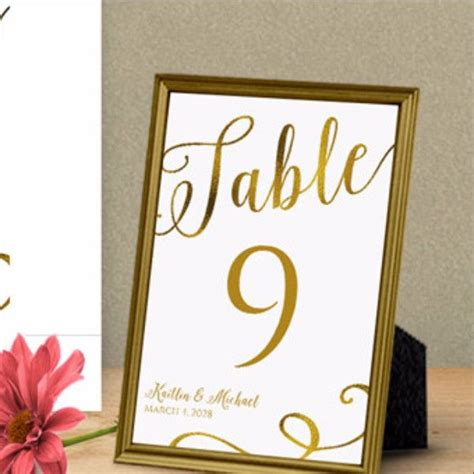 table numbers template for weddings calligraphy gold foil table number template 4 x 6