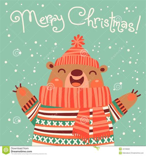 Credit Card For Business Travel Christmas Card With A Cute Brown Bear Stock Vector Image 43736692