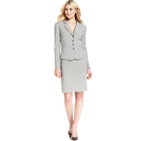 tahari plaid skirt suit in gray grey black lyst