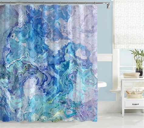 Aqua Color Curtains Designs Abstract Shower Curtain Contemporary Bathroom Decor Aqua