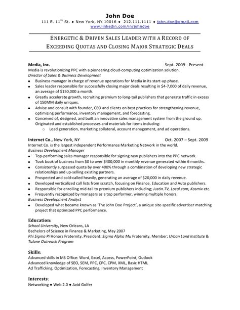 Free Sle Resume With Experience Sales Resume Sle