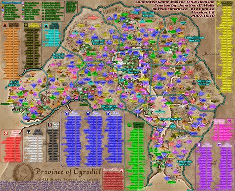 oblivion map the elder scrolls iv oblivion world map annotated