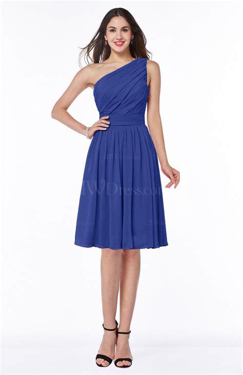 a line black knee length one shoulder chiffon bridesmaid dress cozk1300c electric blue simple a line one shoulder chiffon knee