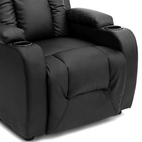 gaming sofa chair oscar black leather recliner w drink holders armchair sofa