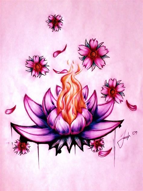 burning lotus tattoo lotus flower by lesweetlou on deviantart