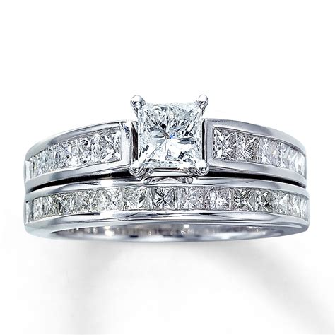 bridal set 2 ct tw princess cut 14k white gold