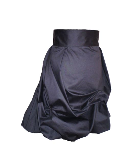 Two Side Draped Skirt black draped puffball skirt with two side pockets sewing