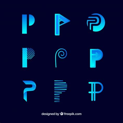 logo letter p template collection vector