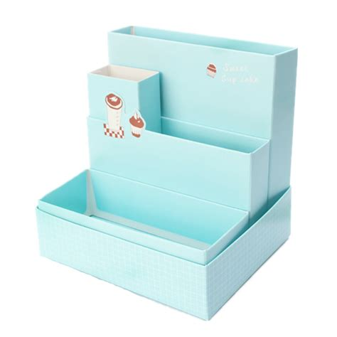 Desk Organizer Box Diy Fold Board Paper Storage Box Organizer Makeup Cosmetic Stationery Desk Decor Ebay