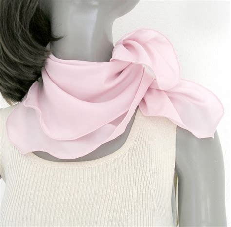 light pink small neck scarf silk square small one of a