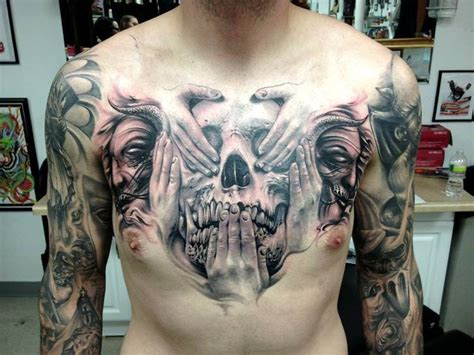 tattoo chest skull best chest tattoos jaw dropping ink masterpieces