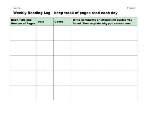 blank weekly homework log