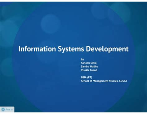 Mba Information Security Management In Madras by Information System Development
