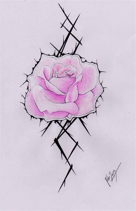pink rose tattoo sketch by el3c7r0n on deviantart