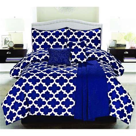 royal blue comforter geometric cameron 6 piece microfiber comforter set