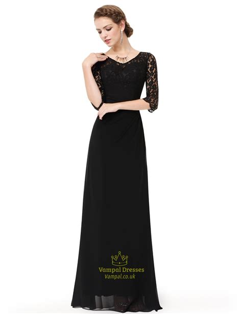3 4 Sleeve A Line Lace Dress black a line lace 3 4 sleeve chiffon of the