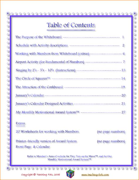 template content 4 table of content template teknoswitch