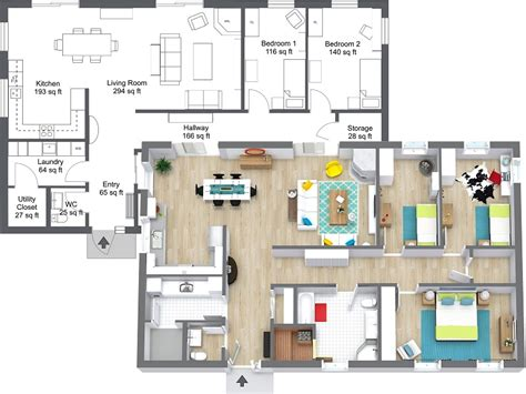 2 bedroom floor plans roomsketcher draw a floor plan from a blueprint roomsketcher