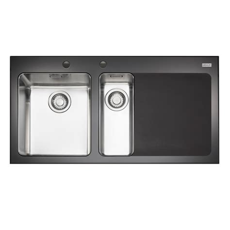 kitchen sink accessories kubus polished stainless franke kubus 1 5 bowl black polished toughened glass