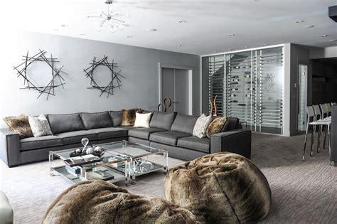 Grey Family Room Ideas Gray Basement Family Room Contemporary Basement