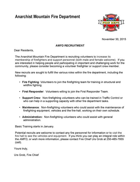 Letter Recruitment Amfd Volunteer Recruitment Anarchist Mountain Community Society