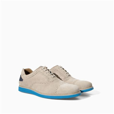 oxford shoes colored soles zara leather oxford shoe with colored sole in gray for